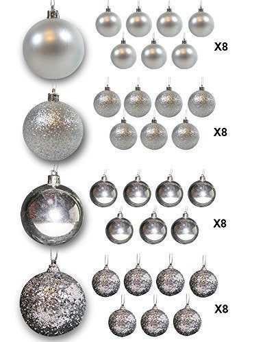 Christmas Ball Ornaments Packs - Silver Ball Ornaments - Pack of 32(3558)
