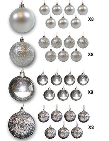 Christmas Ball Ornaments Packs - Silver Ball Ornaments - Pack of 32