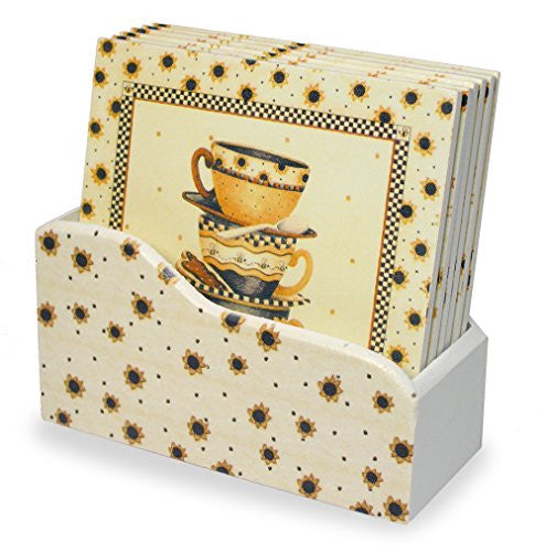 Sunflowers & Teacups Square Drink Coasters - Gift for Mom - Set of 6 - 4 Inch