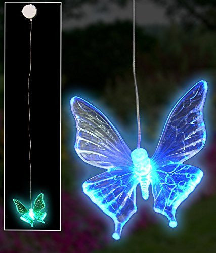 LED Butterfly Window Decoration Hanging Mobile Color Changing Night Light with Suction Cup - Batteries Included - Clear Acrylic