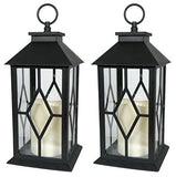 Decorative Black Lantern - LED Flickering Flameless Pillar Candle with 5 Hour Timer Included - Indoor/Outdoor Lantern - 13""