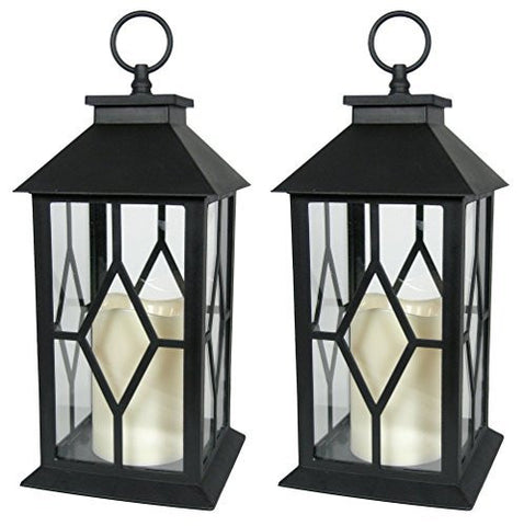 "Decorative Black Lantern - LED Flickering Flameless Pillar Candle with 5 Hour Timer Included - Indoor/Outdoor Lantern - 13"" - Set of 2"