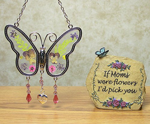Mom Gift Set - Butterfly Suncatcher with Engraved Mom Charm