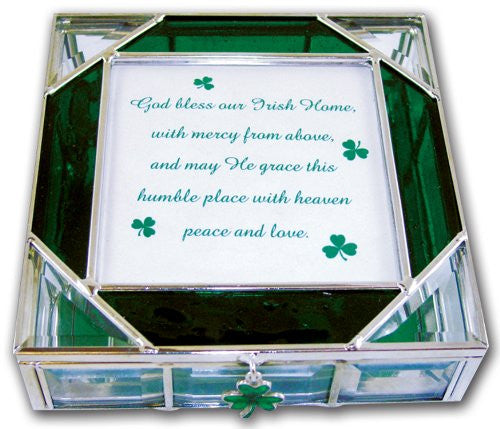 Irish Stained Glass Celtic Keepsake Box With Shamrocks