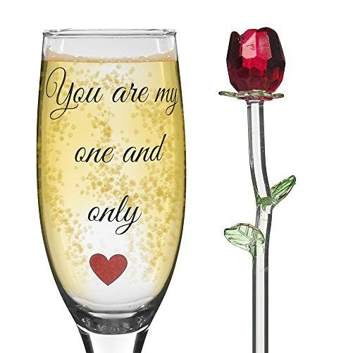 Valentine Gifts - Glass Red Rose and Champagne Glass - Set of 2