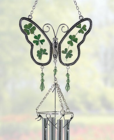 Irish Butterfly Suncatcher Windchime with Real Pressed Flower Wings(2439)