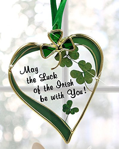 Irish Suncatcher - Glass Heart Suncatcher with Shamrock Designs(7168)