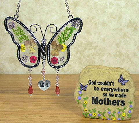 Mom Gift Set - Butterfly Sun catcher and Mom Stone