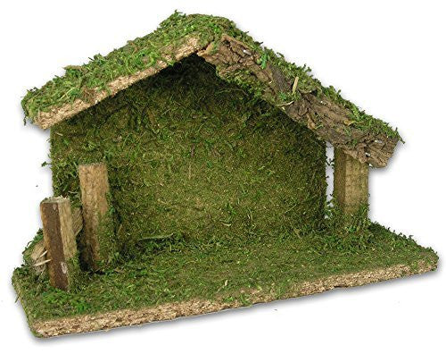 Nativity Stable Creche Christmas Decoration Wood and Moss 5 Inch High