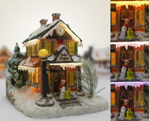 Christmas Snow Village Bakery Fiber Optic LED House