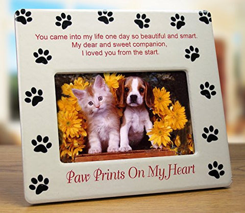 Paw Prints on My Heart Picture Frame a Heartfelt Message of Comfort and Loyalty