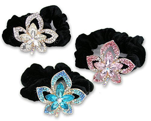 Jeweled Flower Black Elastic Hair Tie Scrunchies - Set of 3 - 1 Clear Crystal Flower, 1 Pink Crystal Flower and 1 Blue Crystal Flower(1802B)