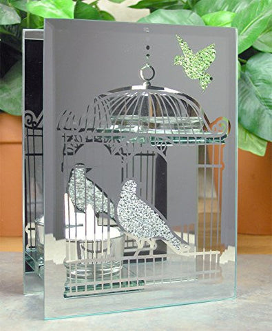 Mirrored Glass Birds Double Candle Holder Includes 2 Flameless LED Tea Lights - 7 Inch