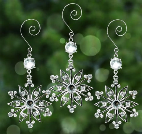 Snowflake Ornaments - Set of 3 Sparkling Crystal and Filigree Snowflake