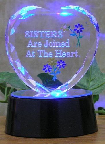 Sister Heart - Color Changing LED Light - Black Mirrored Base
