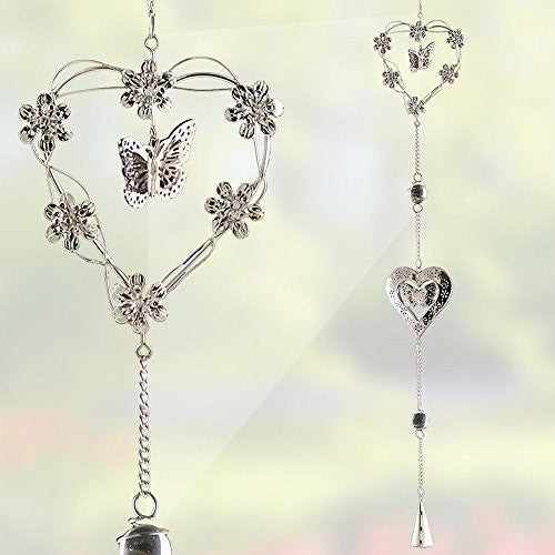 Garden Chimes - Metal Butterfly and Hearts Mobile Decoration - Silver Hearts, Butterflies and Flowers - Garden Decor - 40 Inch High