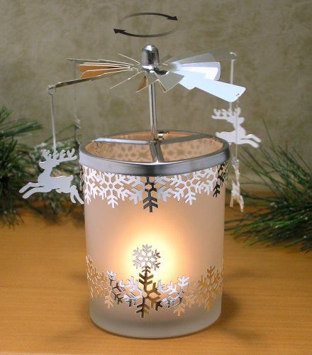 Frosted Glass Spinning Candle Holder