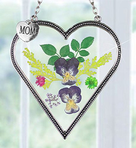 Suncatcher Heart Shaped with Real Pressed Flowers in Glass and Metal Frame