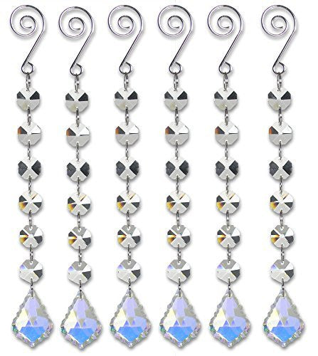 Pendeloque Crystal Strand - Set of 6 Iridescent Glass Chandelier Pendants - Glass Pendeloque Charms That Hang on Garland Strands of Crystal Beads