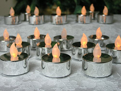 Silver Tea Light Candles - Set of 24 Flameless Tealights