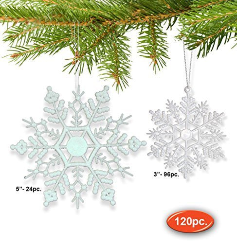 Snowflake Ornaments - Set of 120 White Snowflake Ornaments - 96 Small Mini Snowflakes and 24 Medium Snowflakes - Snowflake Decorations