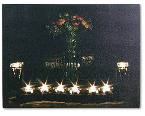 Canvas Wall Art - LED Lighted Canvas with Flowers and Candles