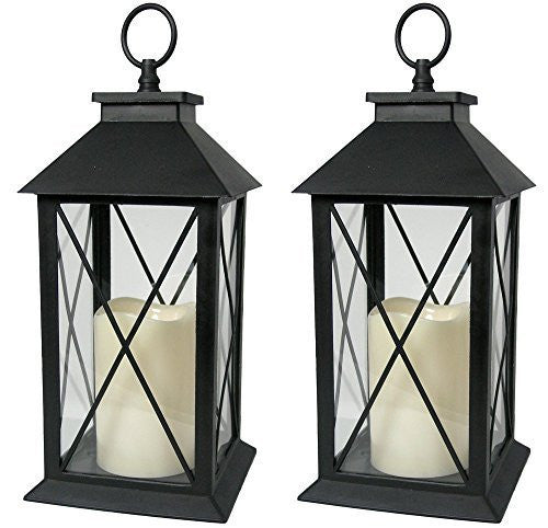 Black Decorative Lantern with Cross Bar Design - Set of 2 Lanterns