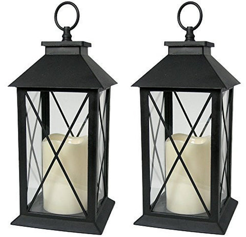 Black Decorative Lantern with Cross Bar Design - Set of 2 Lanterns(9604-2)
