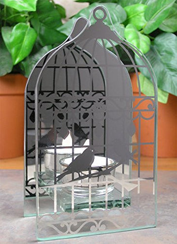 Mirrored Glass Birds in a Birdcage Candle Holder Includes Flameless LED Tea Light