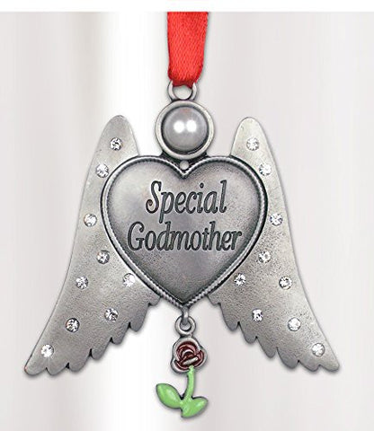 Special Godmother Jeweled Angel Hanging Ornament Pewter Metal 3 Inch