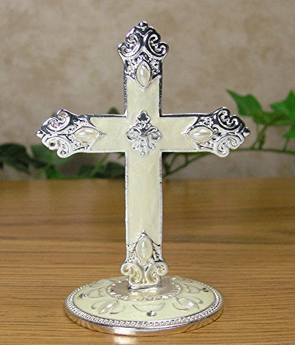 Metal Cross on Base Jeweled and Enameled Accents Decorative Centerpiece Gift for Baptism In Loving Memory Sympathy Bereavement