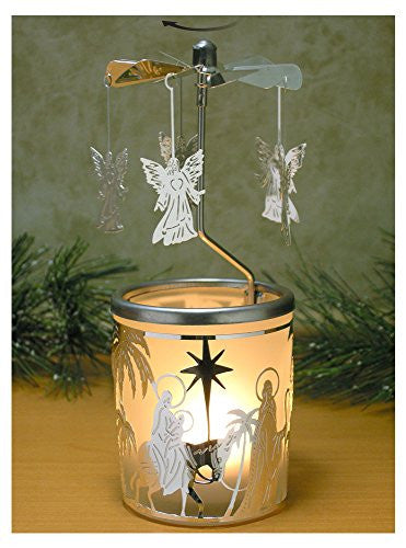 Spinning Angels Candle Holder with Holy Family Scene Scandinavian Style