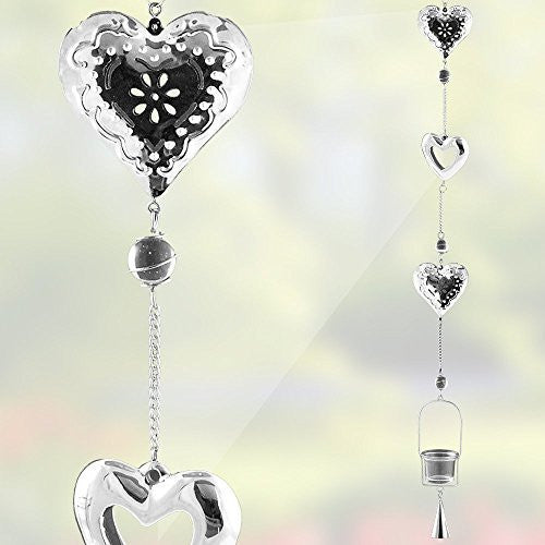 Heart Shaped Hanging Glass Votive Candle Holder - Silver Filigree Heart Garden Chimes - Hanging Garden Decor - 44 Inch High