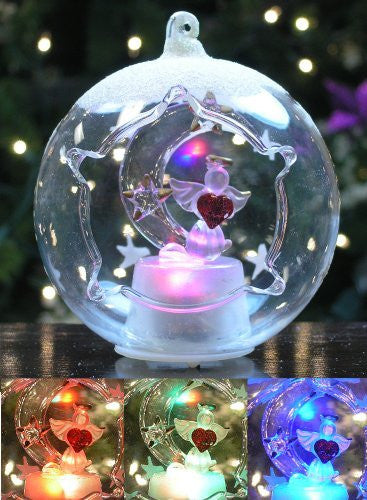 "Christmas Ornament - I Love You to the Moon Angel & Stars, LED Lighted Color-Changing, 3.5""D(9589)"
