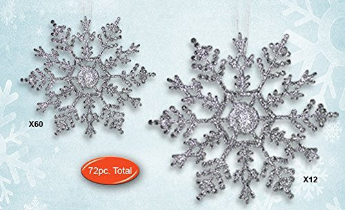 Silver Snowflakes - Set of 72 Glitter Snowflake Ornaments - Assorted Sizes of 4-inch and 6-inch - Silver Christmas Decorations