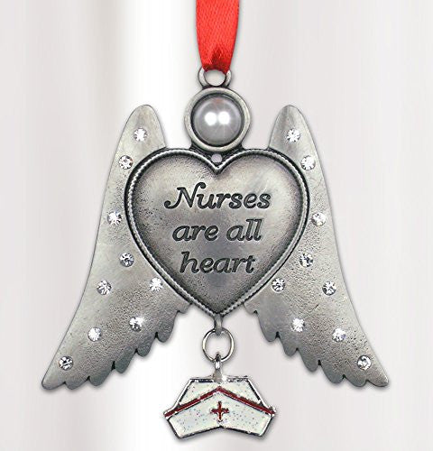 Nurse's Day Gift - Angel with Hat Charm Pewter Metal 3 Inch