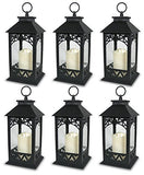 "Black Plastic Decorative Lantern LED Pillar Candle with 5 Hour Timer Roof and Hanging Ring - 13""H"