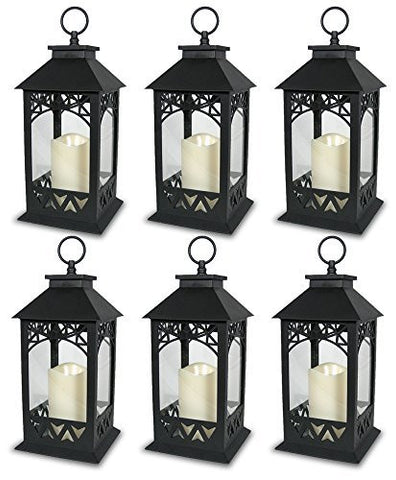 "Black Plastic Decorative Lantern LED Pillar Candle with 5 Hour Timer Roof and Hanging Ring - 13""H(9605)"