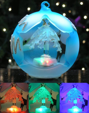 LED Glass Globe Christmas Tree Ornament Frosted Blue Ball(9861)