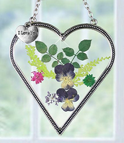 I Love You Gift - Pressed Flowers Heart Suncatcher with I Love You Charm