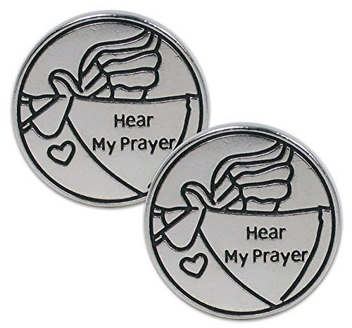 Pocket Prayer Angel Tokens Hear My Prayer Messenger Angel with Heart - Set of 2 - Metal - 1.25 Inch