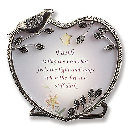 Banberry Designs Faith Candle Holder Inspirational Message - 4 Inch(2113)