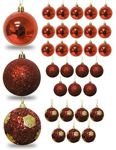 Red Ball Ornaments - Set of 32 Christmas Bulb Ornaments - Red Shiny - Red Glitter - Shatterproof Ornaments - Red Christmas Decorations