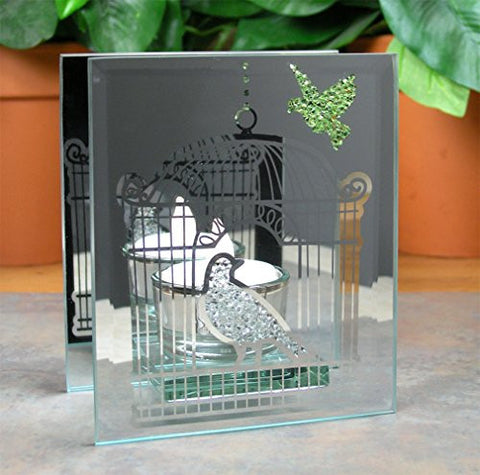 Mirrored Glass Birds Candle Holder Includes Flameless LED Tea Light - 4.75 Inch
