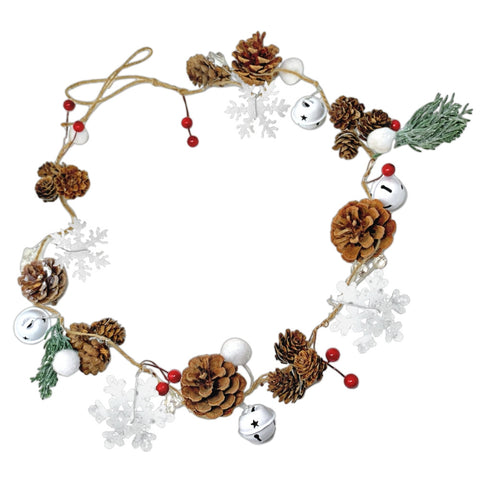Winter Christmas Garland – Pinecones, Cotton, Pine, Snowflakes, Red Berries (3353)