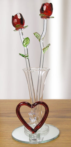 Crystal Roses in a Glass Vase