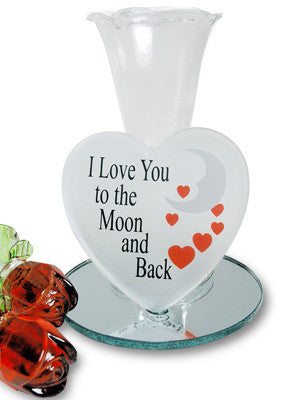 I Love You To The Moon Vase and Glass Roses