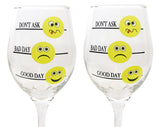 Funny Emoji Glasses - Set of 2 - Good Day Bad Day Don't Ask(6062)