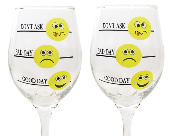 Funny Emoji Glasses - Set of 2 - Good Day Bad Day Don't Ask