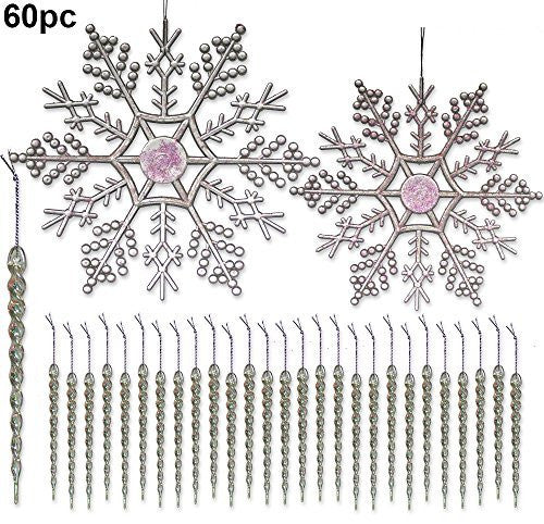 Snowflake and Icicle Ornaments - Bulk Set of Christmas ornaments